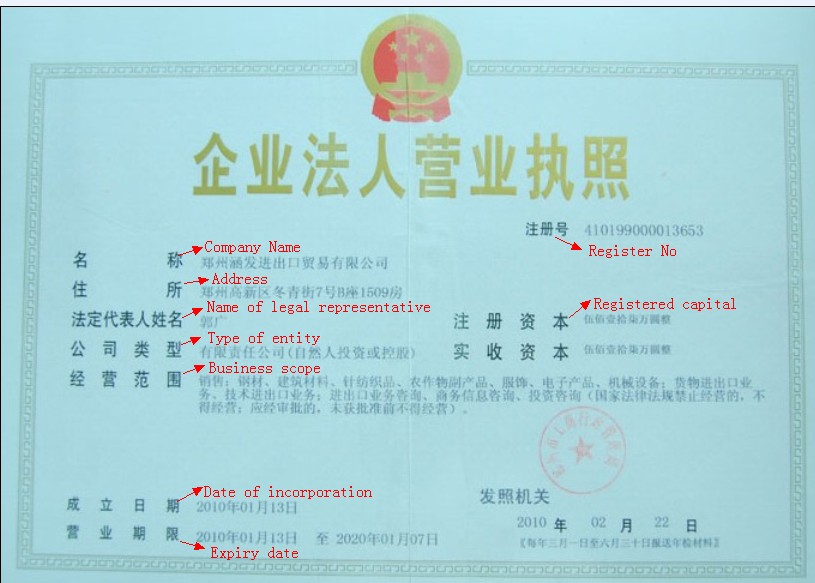 What I Know About China Business License Of China Company