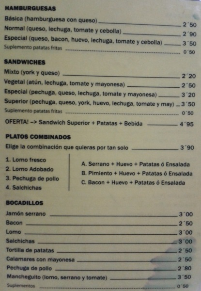 Carta de hamburguesas y sandwiches