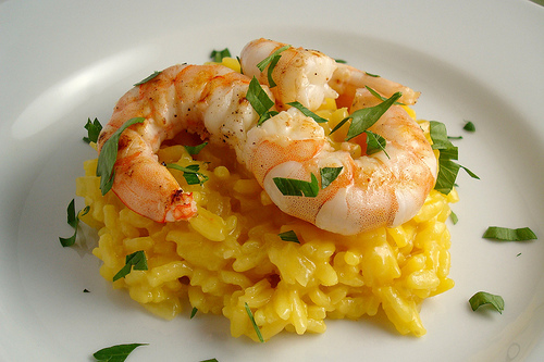 Flambé Prawns with Saffron Risotto Recipe