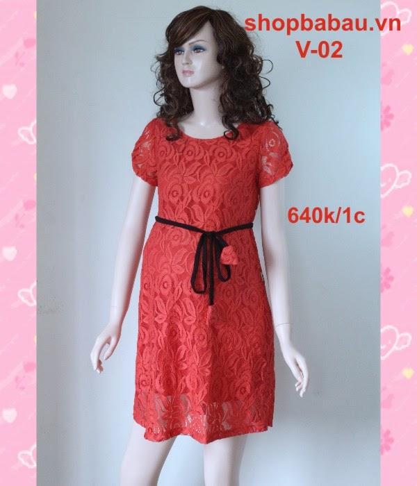 váy bầu - đầm bầu đỏ v-02