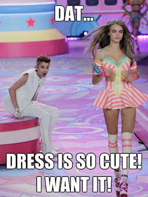 Justin Bieber looks at hottie and says that dress is so cute. I want it!