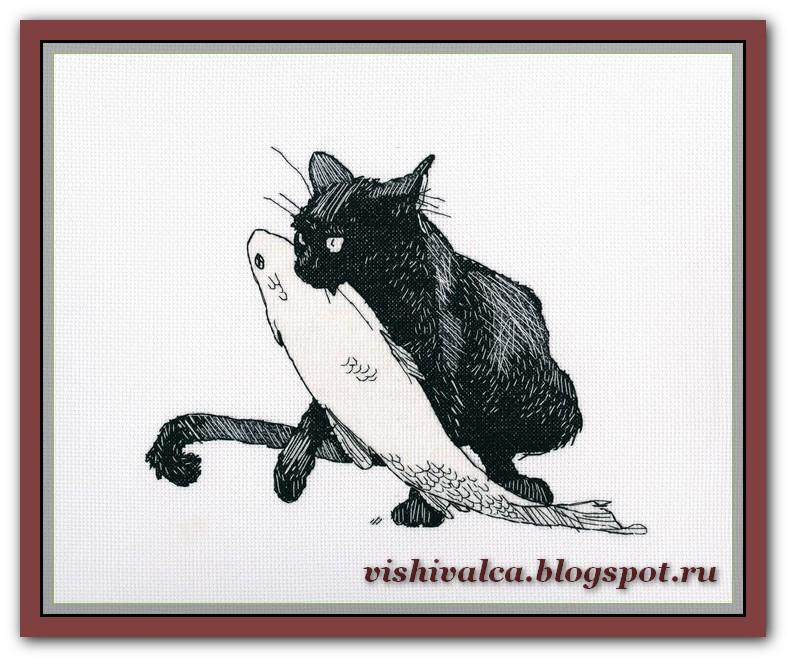 Схема вышивки чёрного кота 842