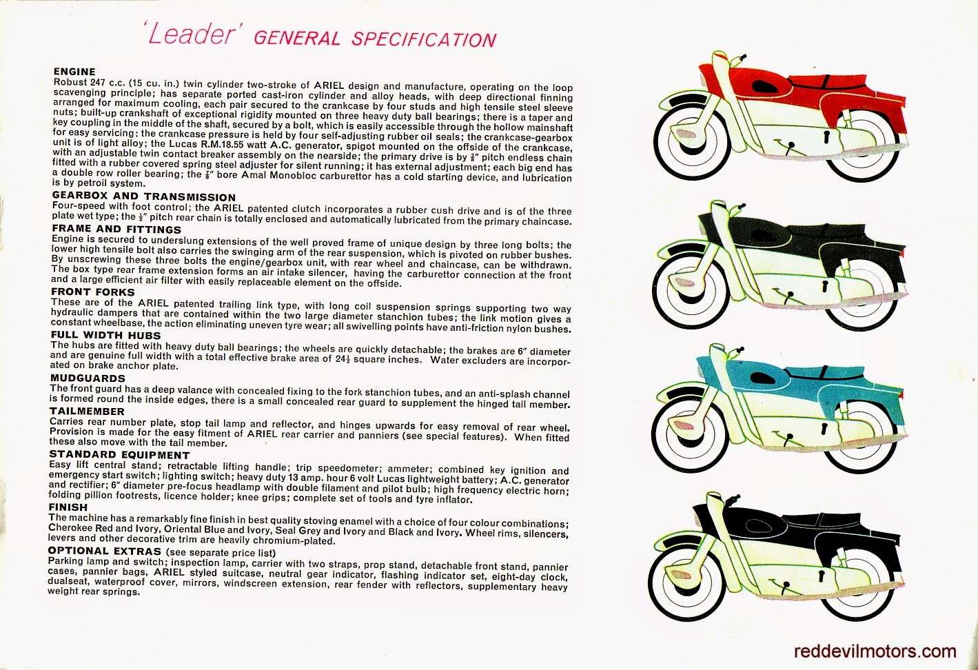 Ariel Arrow and Leader brochure page 4