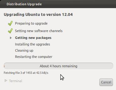 uprage ubuntu 12.04