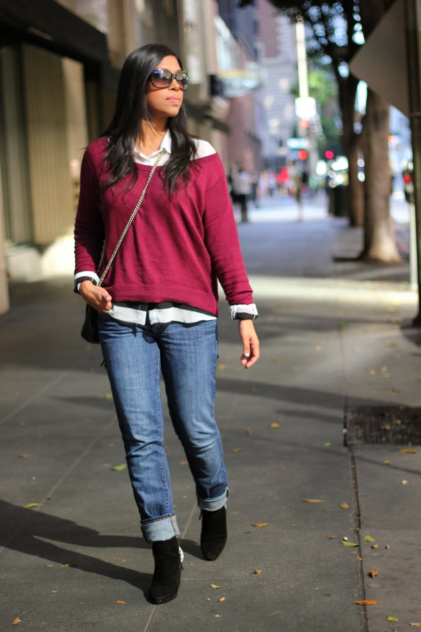 burgundy sweater dolce vita bootie gucci chain bag