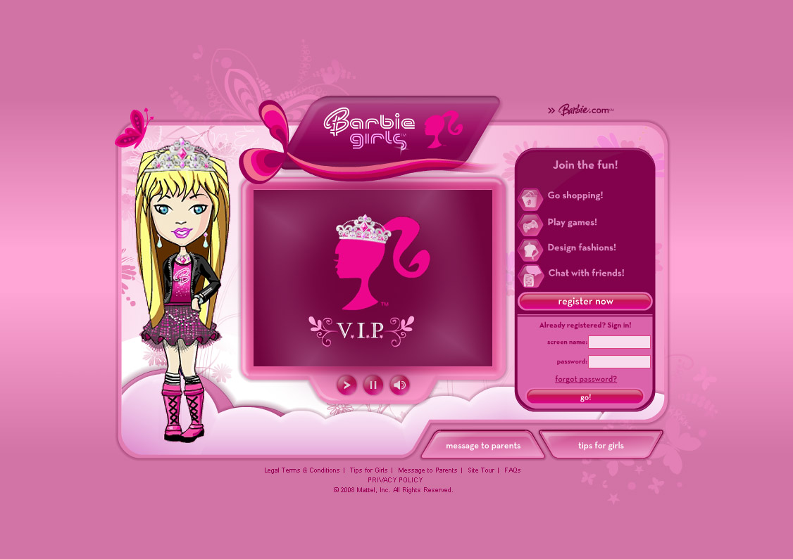 There are numerous online virtual worlds targeted at girls barbie