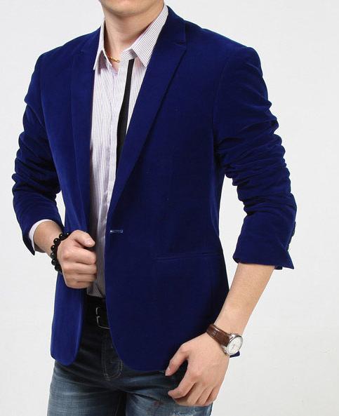 Classic Royal Blue Velvet Blazer