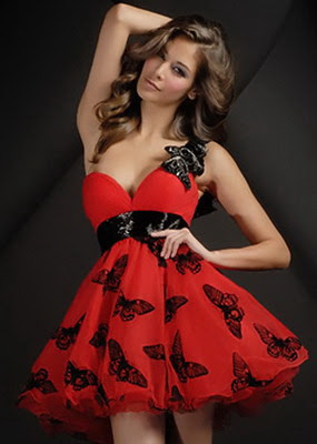 Sweetheart-Tulle-layered-Chiffon-Red-Cocktail-dress