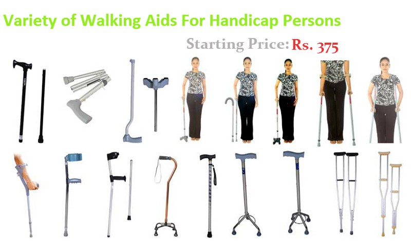 Walking With Crutches For Handicapp Persons Wheelchair