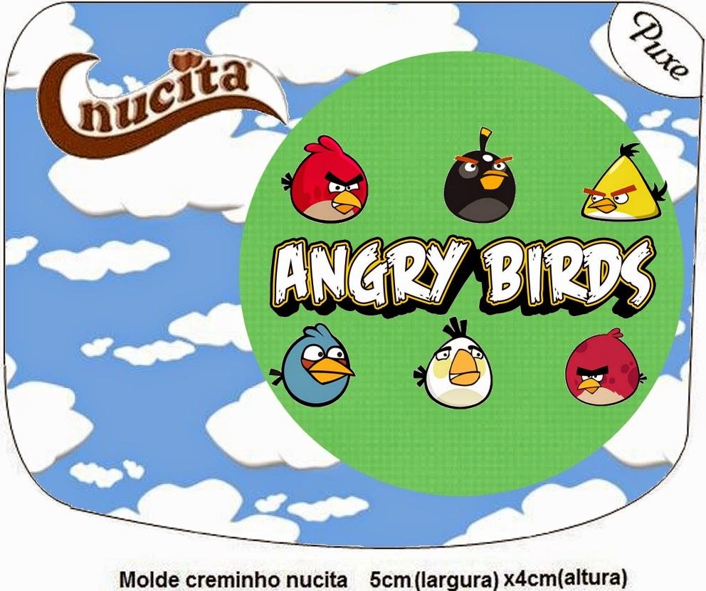 Etiquetas Nucita de Angry birds con Nubes para imprimir gratis.