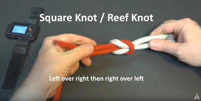 demonstration of a tied square knot also called a reef knot