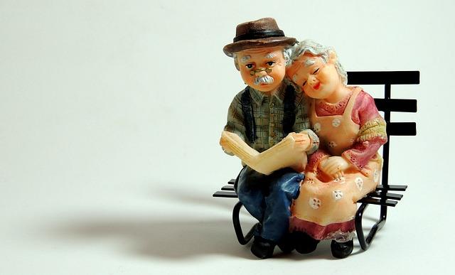 ancianos, pareja mayor, banco