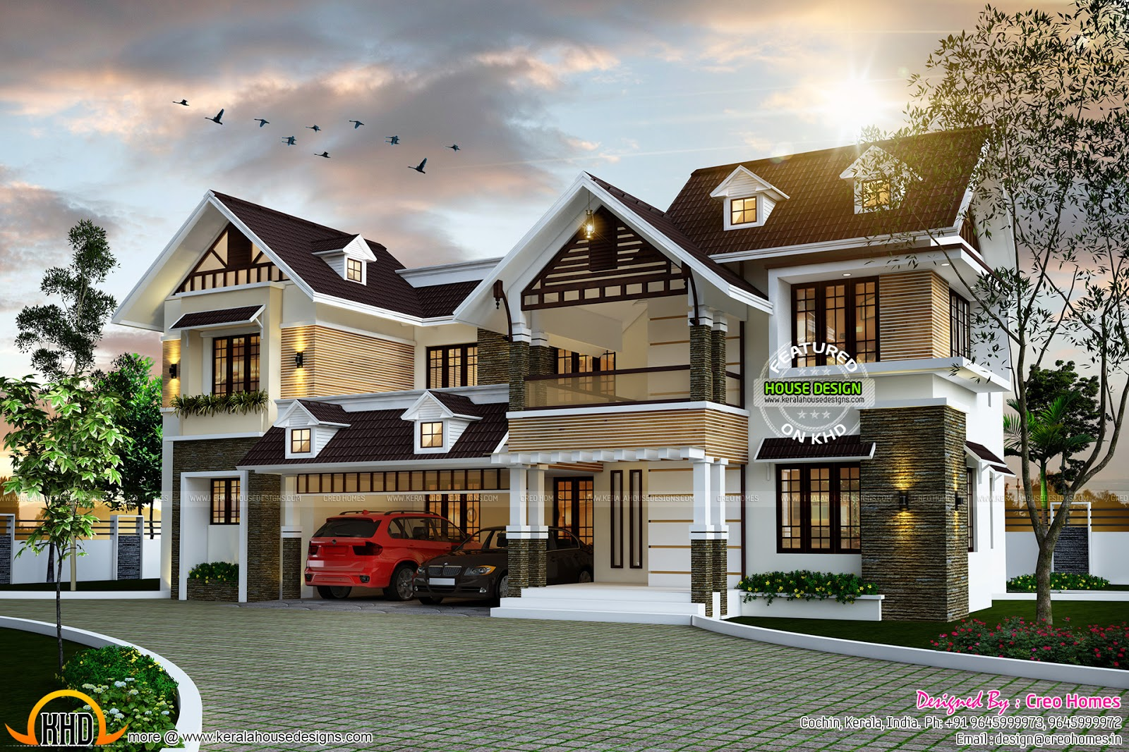 Kerala type home design with dormer windows kerala home for Window glass design in kerala