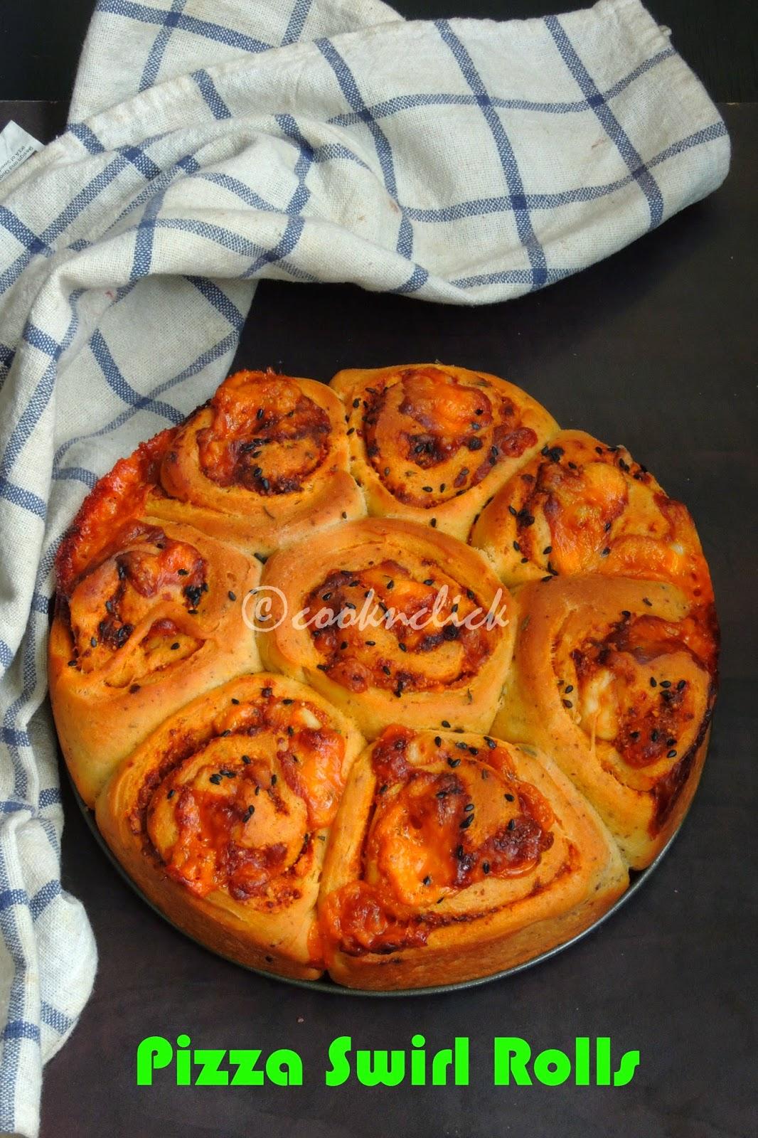 Pizza swirl bread rolls, swirl pizza rolls