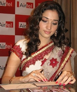 Tamana in white saree sute at airtel