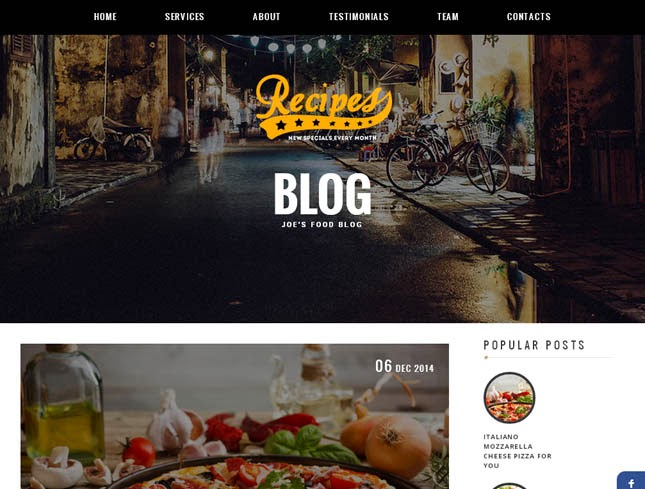Recipes Responsive Blogger Template