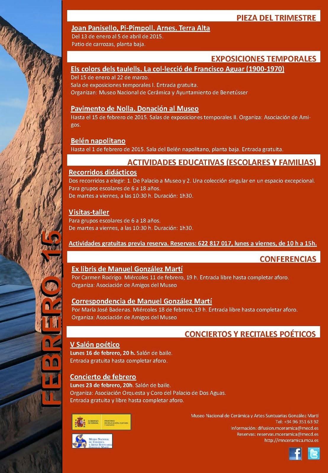 2015.02 ACTIVIDADES DEL MUSEO NACIONAL DE CERÁMICA GONZÁLEZ MARTÍ EN VALENCIA