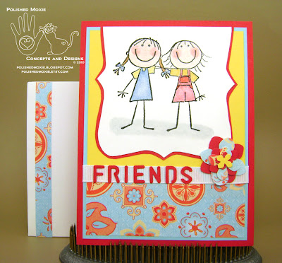 Picture of the finished friendship card and its coordinating envelope