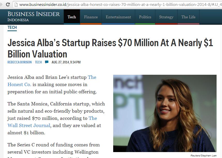 jessica alba startup honest.com