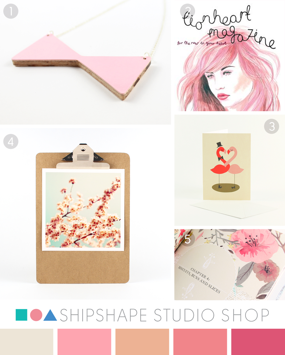 Pink colour moodboard from Shipshape Studio