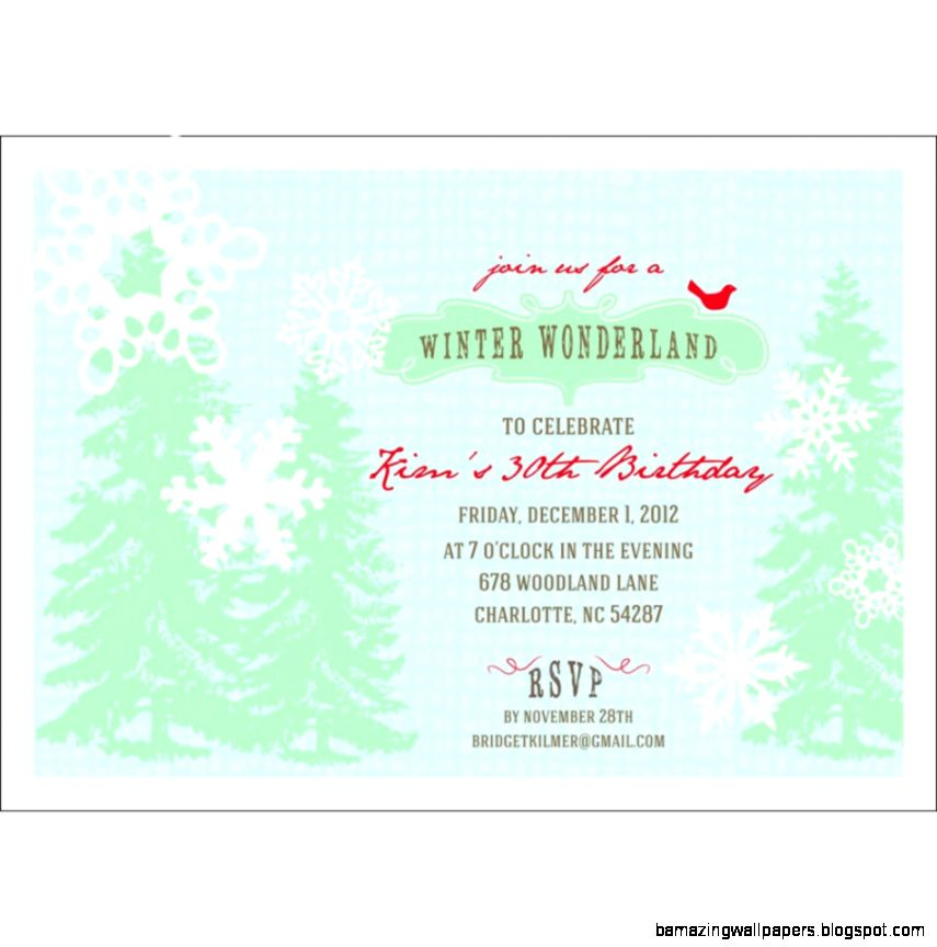 Winter Wonderland Birthday Party Invitations Winter Wonderland 1st