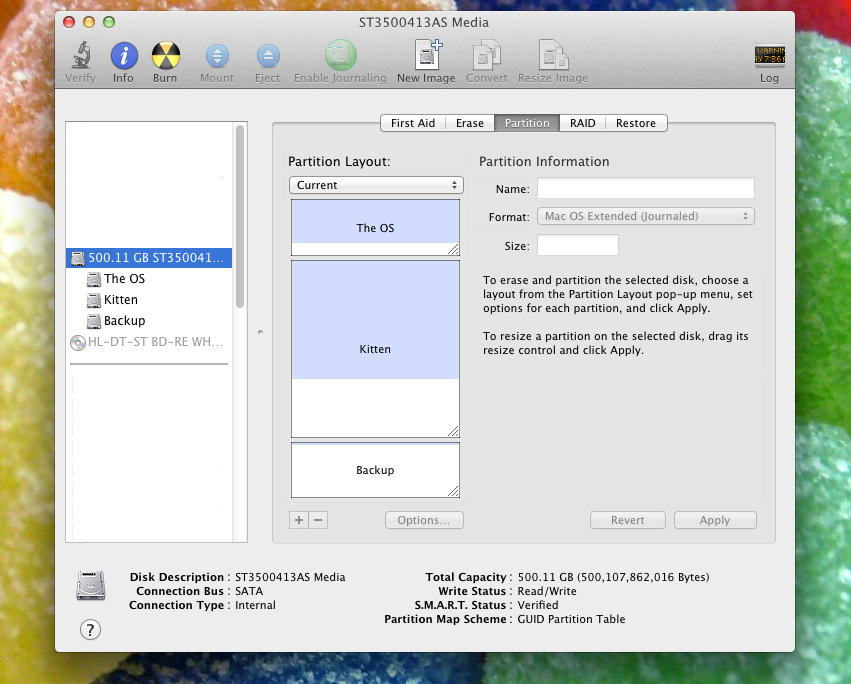 how to create an extra partition mac os