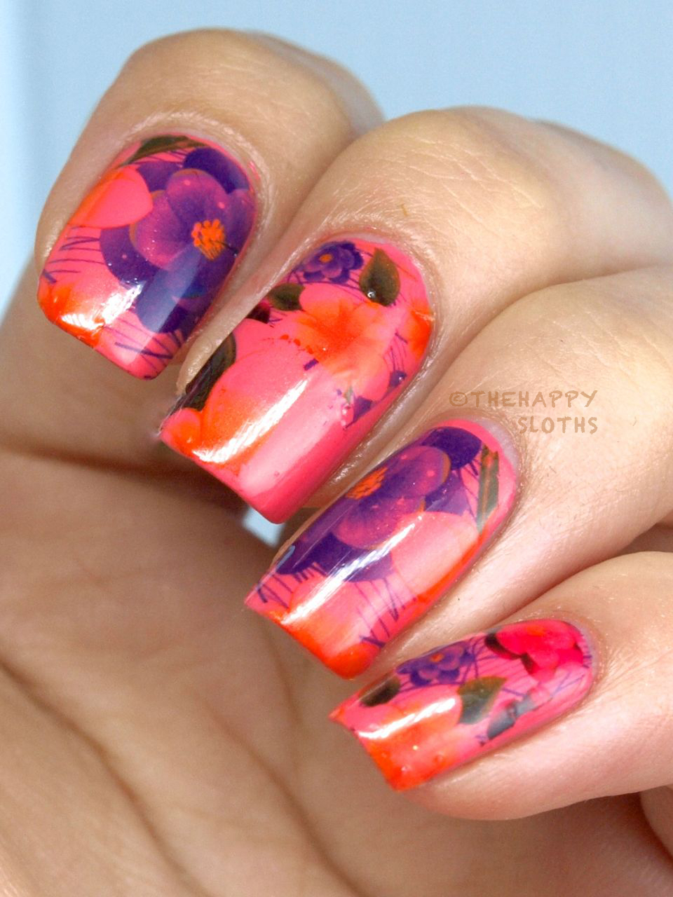 Watercolor Camellia Flower Nails: Manicure Featuring KKCenterHK Water Decals
