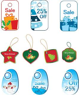 クリスマス・セール タグ Christmas Tags Vector Set イラスト素材