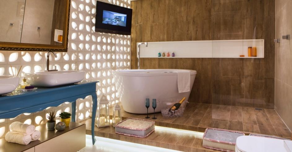 Porcelanato madeira em banheiros e lavabos – veja modelos lindos + dicas!  D -> Cuba Para Banheiro Em Madeira