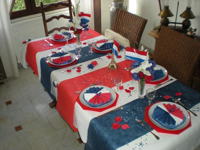 nous sommes aujourd 39 hui le 14 juillet et je vous pr sente ma d co de table en bleu blanc. Black Bedroom Furniture Sets. Home Design Ideas