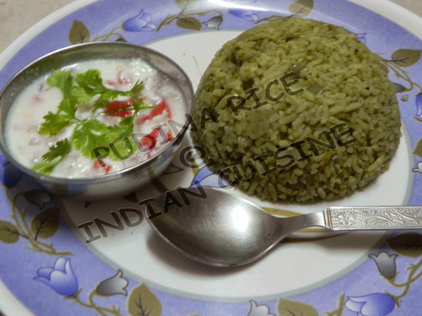 Indian healthy main course recipes delicious healthy home made pudina rice with salad forumfinder Image collections
