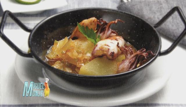 Receta de Pescado Guiso de Patatas con Chipirones