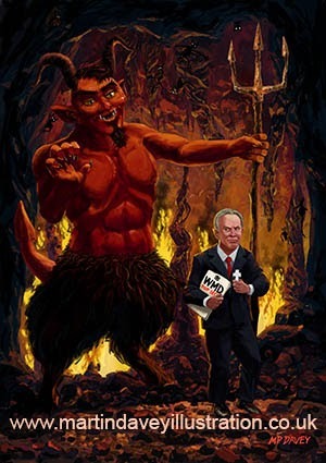 Tony Blair in Hell with Devil and holding Weapons of Mass Destruction document digital painting