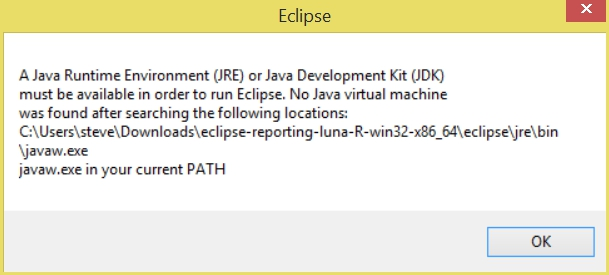 BIRT Report Designer: javaw.exe in your current PATH