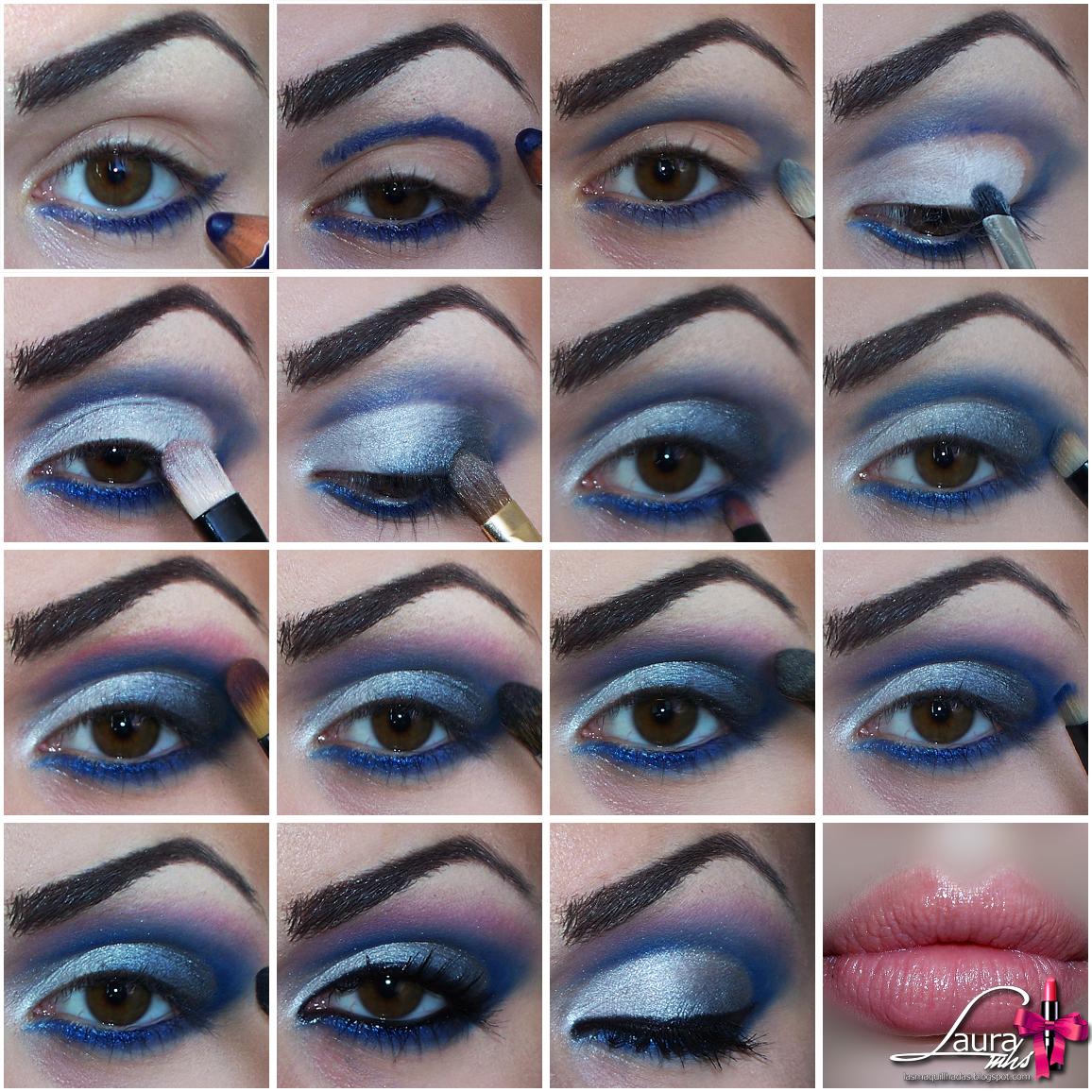Maquillaje para vestido azul y plateado