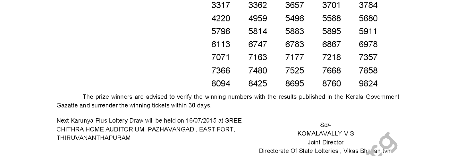 Karunya Plus Lottery KN 65 Result 9-7-2015