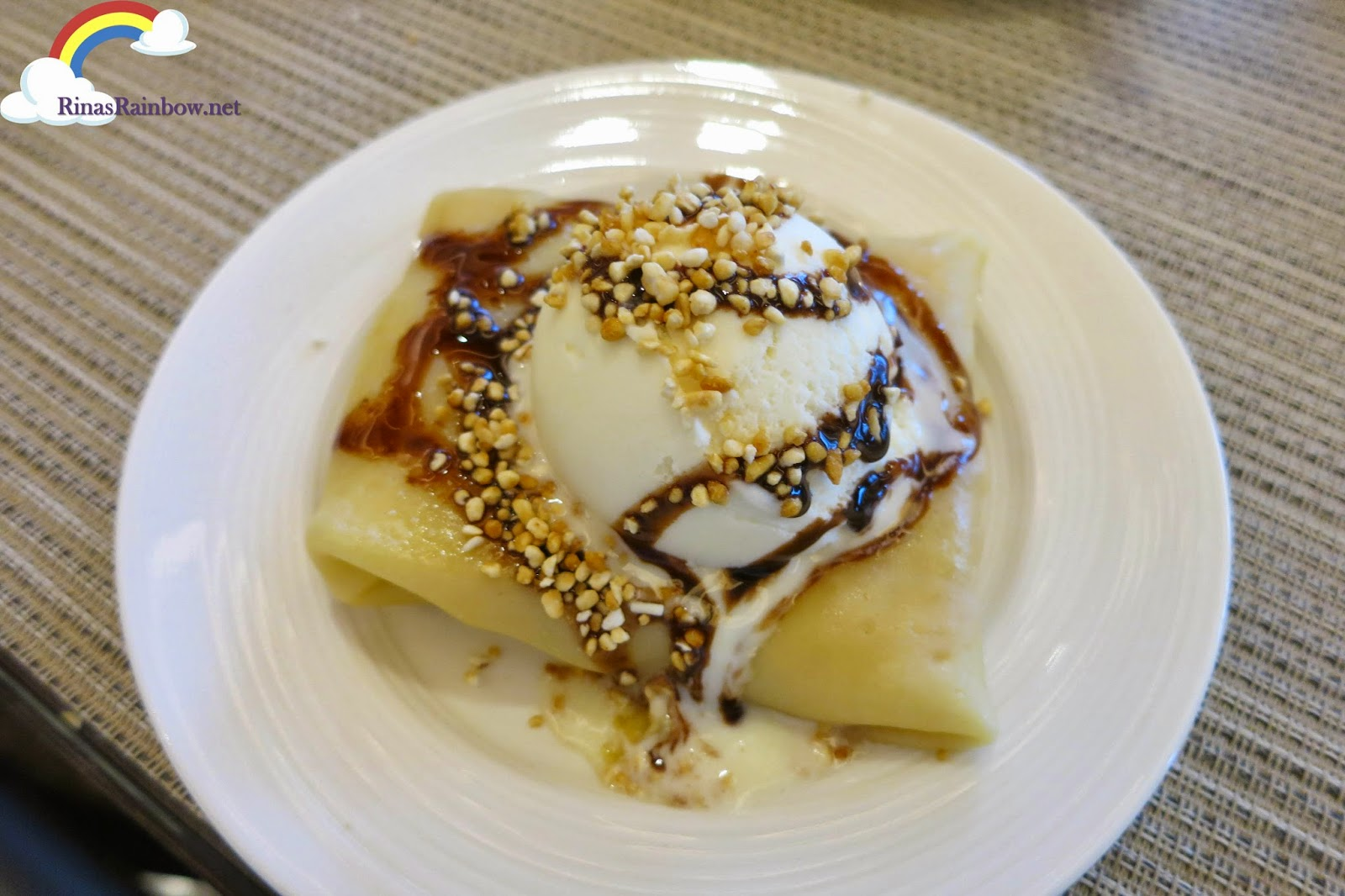 mango crepe vanilla ice cream