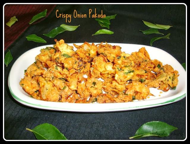 image of Onion Pakoda / Vengaya Pakoda Recipe / Crispy Onion Pakoda Recipe /  Ulli Pakodi - South Indian Style Pakoras