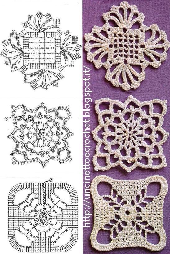 Uncinetto e crochet moduli e piastrelle all 39 uncinetto per - Schemi per piastrelle all uncinetto ...