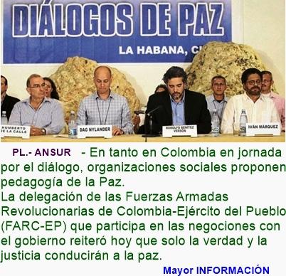 COLOMBIA: Continúan en Cuba diálogos de paz colombianos