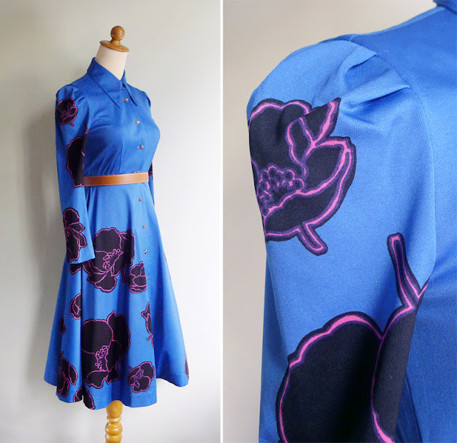 vintage black poppy print cobalt blue dress