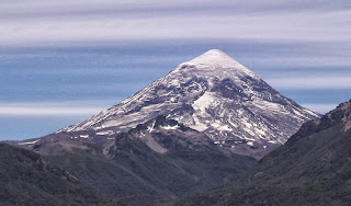 volcano with snow-peak Lanin in argentina