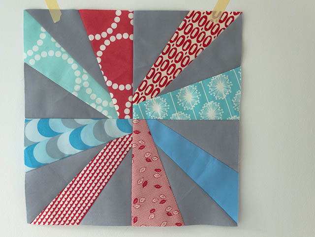 red aqua blue cartwheel starburst block patchwork
