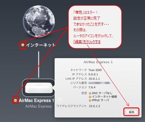 AirMac Express のアイコンをクリックし、[編集]をクリック