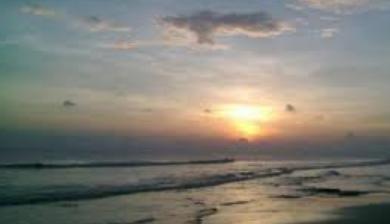 Sun sets in Kuakata Sea Beach