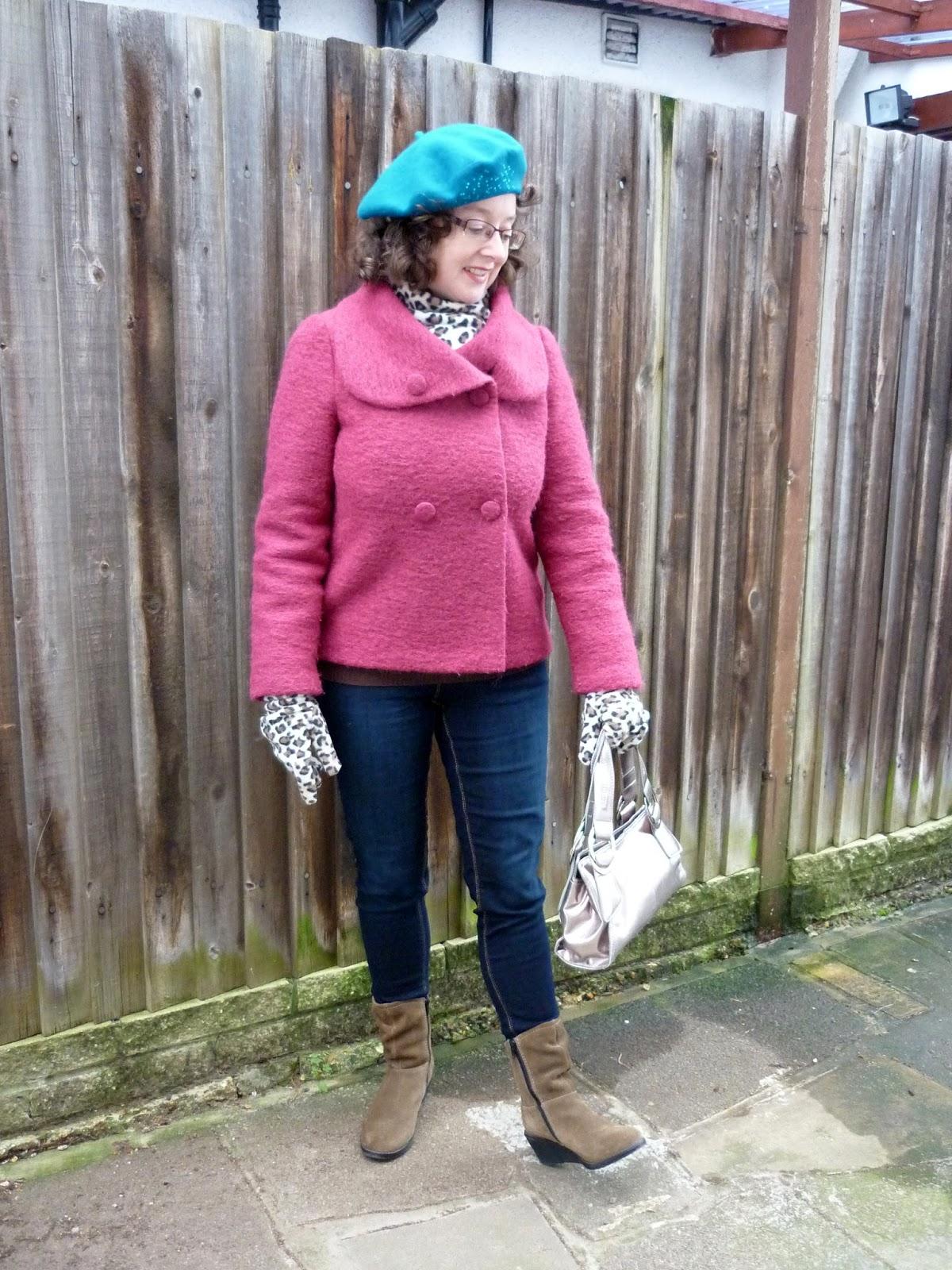 Minuet Raspberry Wool & Cashmere Jacket, Dorothy Perkins Petite Jeans, Beret, Leopard Print Scarf & Gloves | Petite Silver Vixen