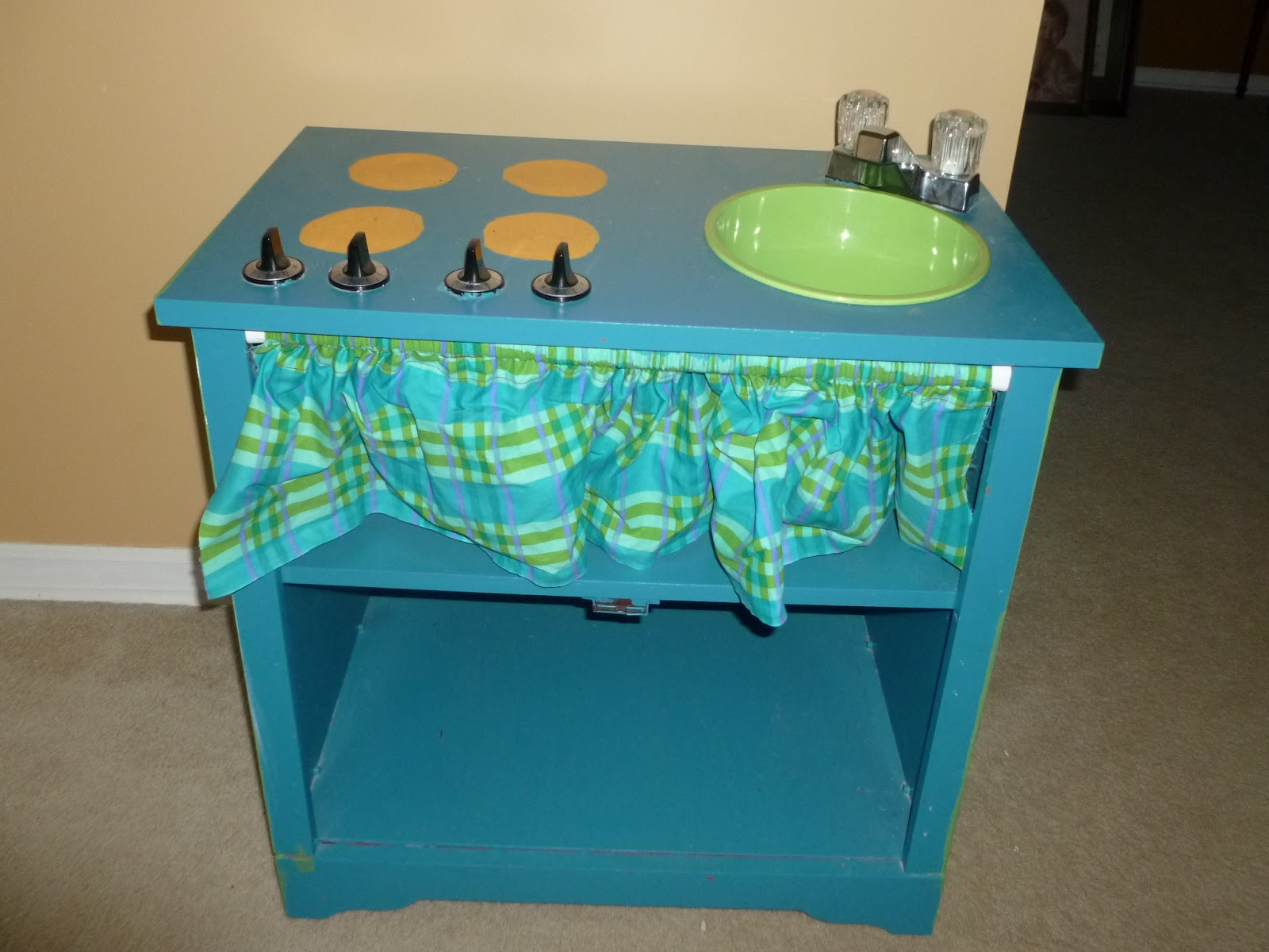 Our Pinteresting Family: Play Kitchen Out of TV Stand
