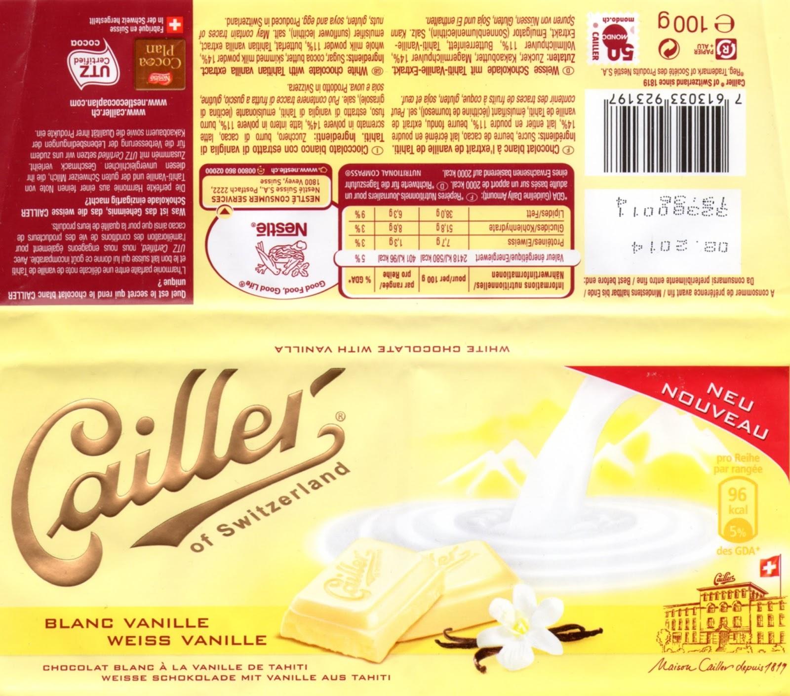 tablette de chocolat blanc dégustation cailler blanc vanille de tahiti