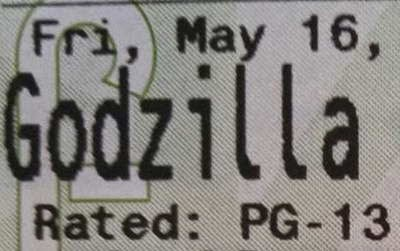Godzilla 2014 movie ticket (a review)