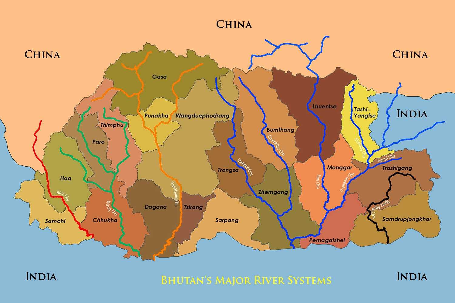 rivers in bhutan map - bhutan land of the thunder dragon